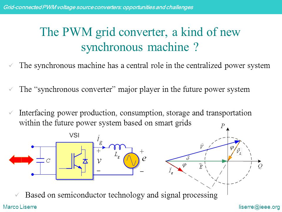 Grid-connected PWM voltage source converters: opportunities and challenges Marco Liserre liserre@ieee.org The PWM grid converter, a kind of new synchronous machine .