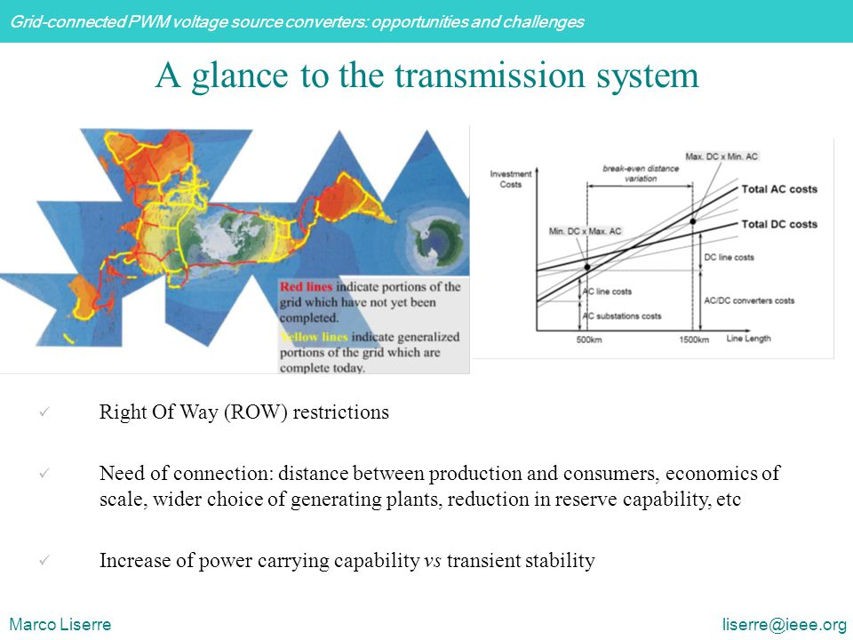 Grid-connected PWM voltage source converters: opportunities and challenges Marco Liserre liserre@ieee.org A glance to the transmission system Right Of Way (ROW) restrictions Need of connection: distance between production and consumers, economics of scale, wider choice of generating plants, reduction in reserve capability, etc Increase of power carrying capability vs transient stability
