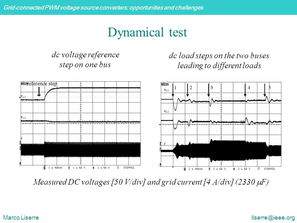 Grid-connected PWM voltage source converters: opportunities and challenges Marco Liserre liserre@ieee.org Dynamical test Measured DC voltages [50 V/div] and grid current [4 A/div] (2330  F) dc voltage reference step on one bus dc load steps on the two buses leading to different loads