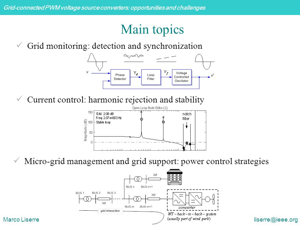 Grid-connected PWM voltage source converters: opportunities and challenges Marco Liserre liserre@ieee.org Grid monitoring: detection and synchronization Current control: harmonic rejection and stability Micro-grid management and grid support: power control strategies Main topics