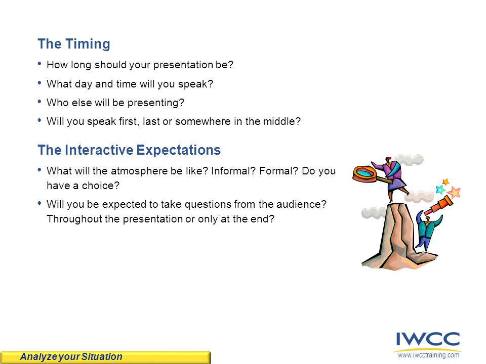 www.iwcctraining.com The Timing How long should your presentation be.