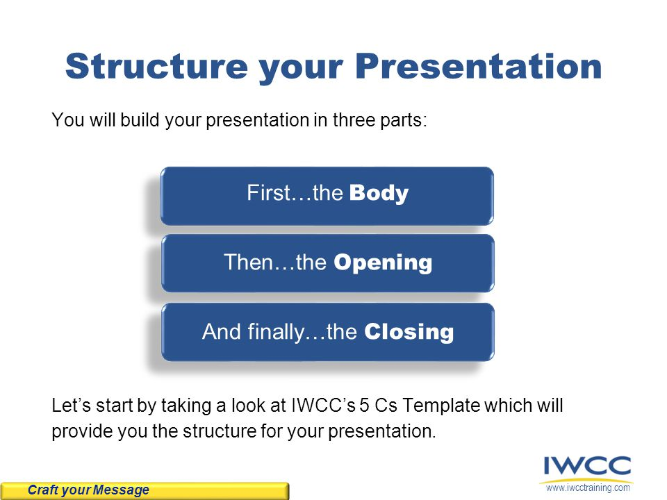 www.iwcctraining.com Structure your Presentation You will build your presentation in three parts: First…the Body Then…the Opening And finally…the Closing Let's start by taking a look at IWCC's 5 Cs Template which will provide you the structure for your presentation.