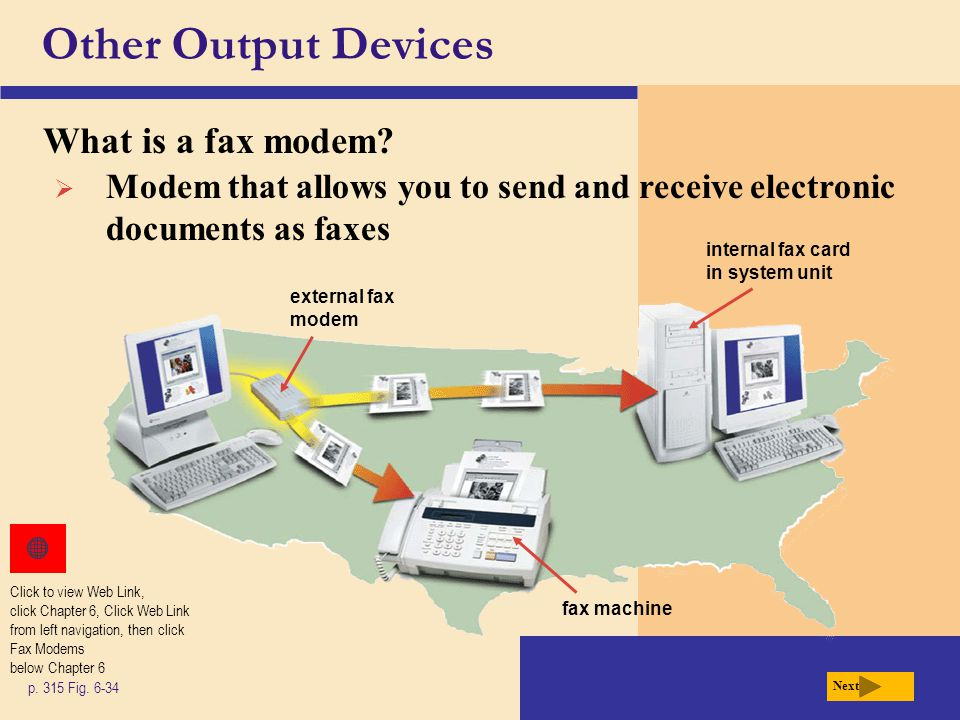 Other Output Devices What is a fax modem? p. 315 Fig. 6-34 Next  Modem that allows you to send and receive electronic documents as faxes external fax