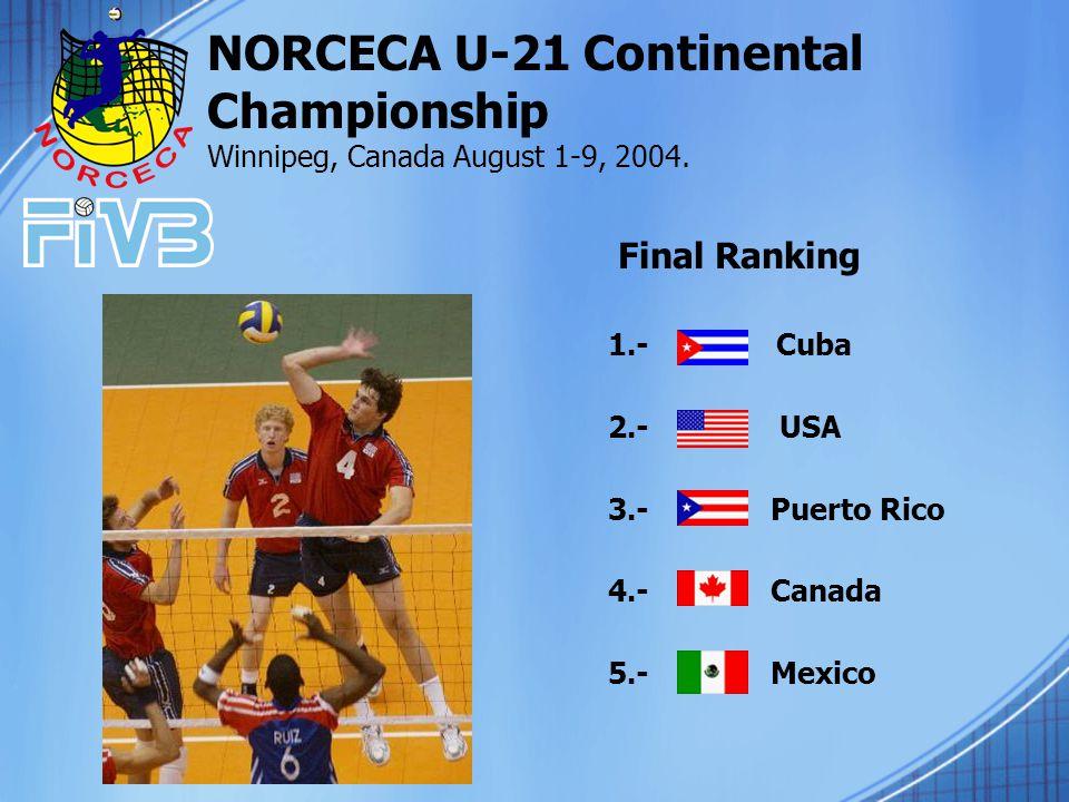 1.- Cuba 2.- USA 3.- Puerto Rico 4.- Canada 5.- Mexico NORCECA U-21 Continental Championship Winnipeg, Canada August 1-9, 2004.