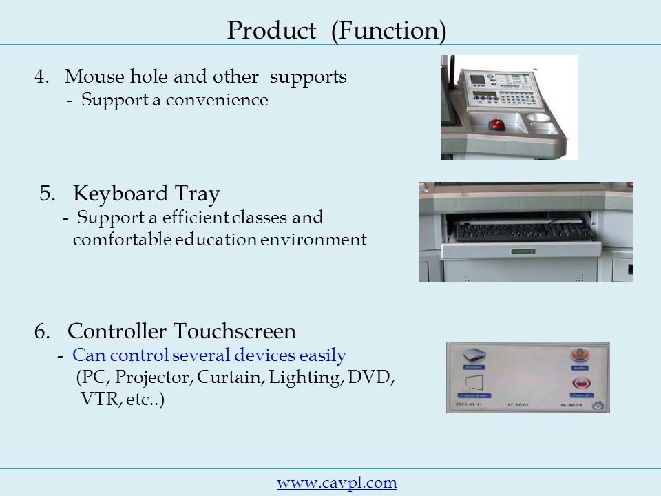 www.cavpl.com Product (Function) 4. Mouse hole and other supports - Support a convenience 5.
