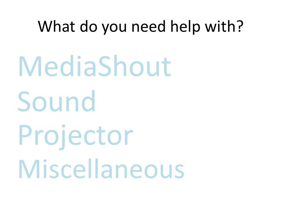What do you need help with? Sound Projector Miscellaneous MediaShout