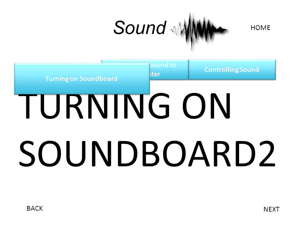 Connecting Sound to Computer Connecting Sound to Computer Sound TURNING ON SOUNDBOARD2 Turning on Soundboard HOME NEXT BACK Controlling Sound
