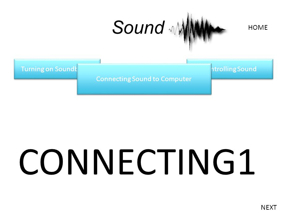 Turning on Soundboard Sound CONNECTING1 Connecting Sound to Computer HOME NEXT