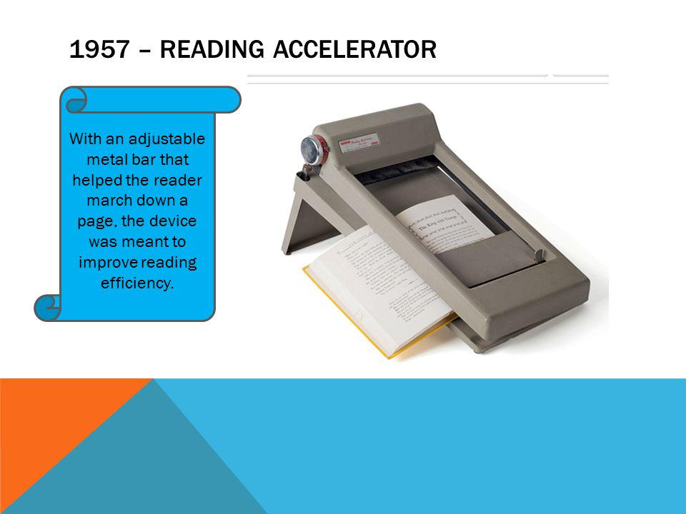 1957 – READING ACCELERATOR With an adjustable metal bar that helped the reader march down a page, the device was meant to improve reading efficiency.