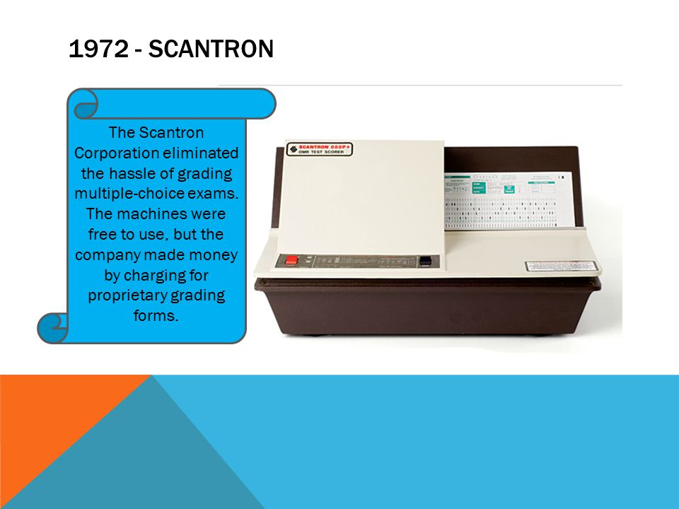1972 - SCANTRON The Scantron Corporation eliminated the hassle of grading multiple-choice exams.