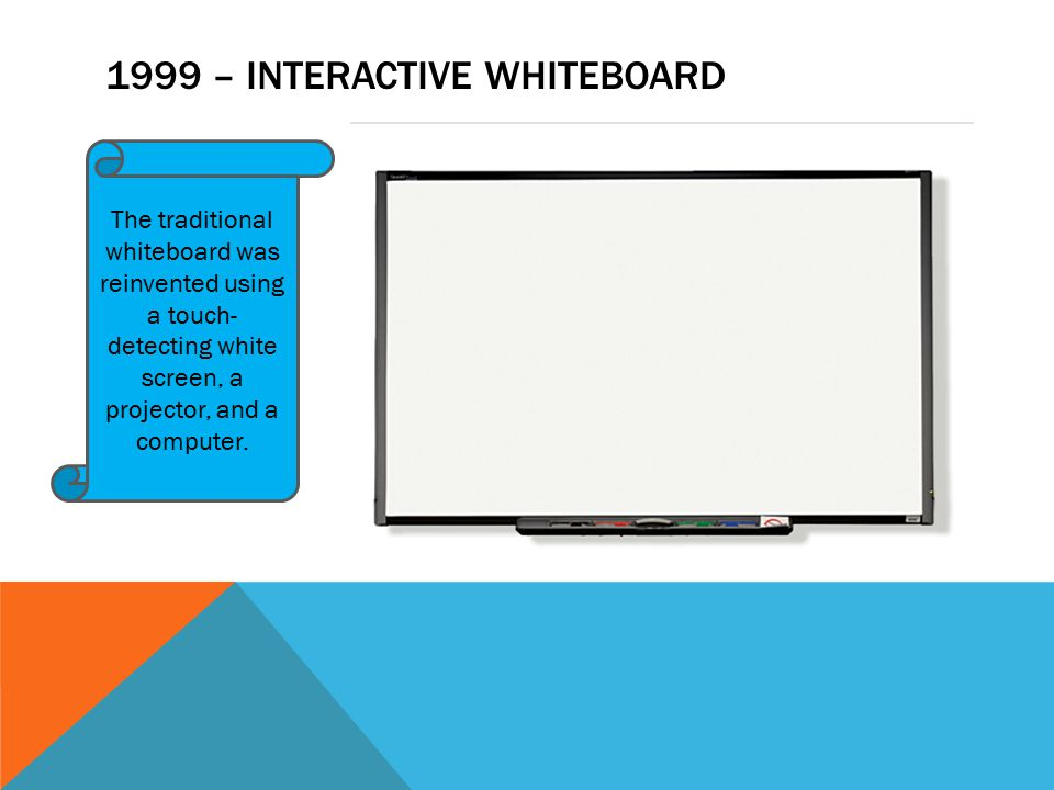 1999 – INTERACTIVE WHITEBOARD The traditional whiteboard was reinvented using a touch- detecting white screen, a projector, and a computer.