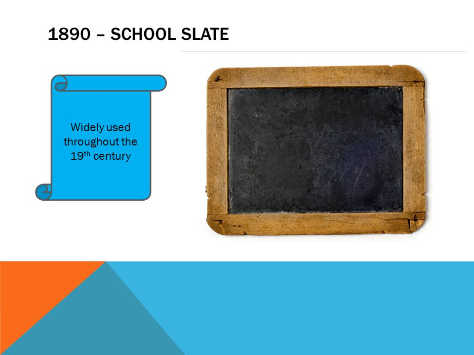 1890 – SCHOOL SLATE Widely used throughout the 19 th century