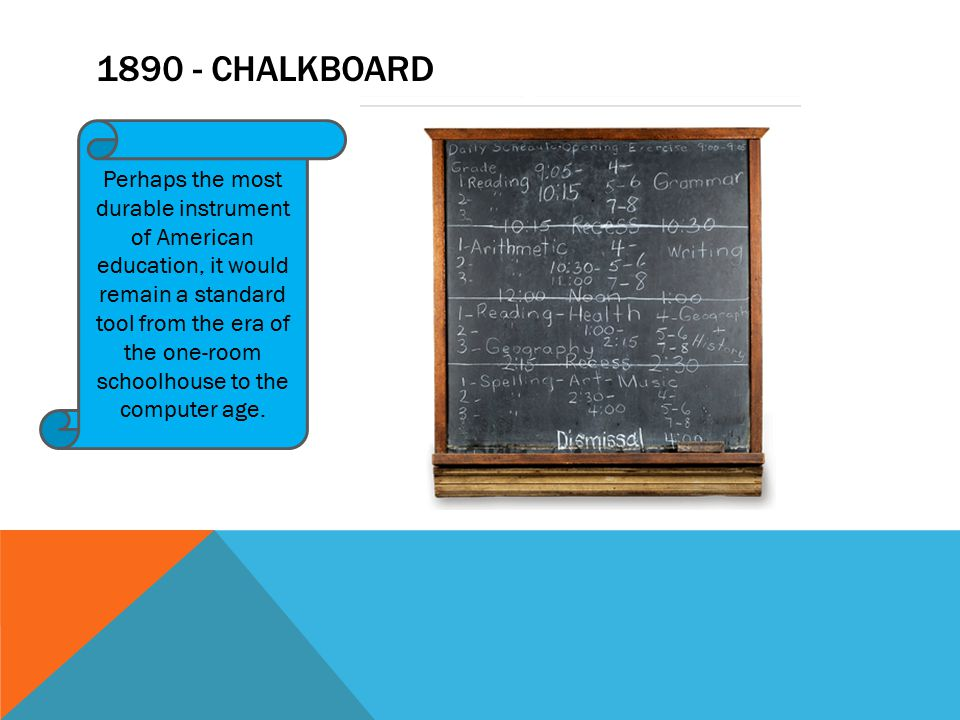 1890 - CHALKBOARD Perhaps the most durable instrument of American education, it would remain a standard tool from the era of the one-room schoolhouse to the computer age.