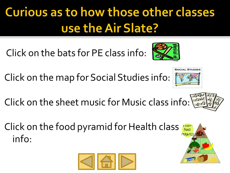 Click on the bats for PE class info: Click on the map for Social Studies info: Click on the sheet music for Music class info: Click on the food pyramid for Health class info: