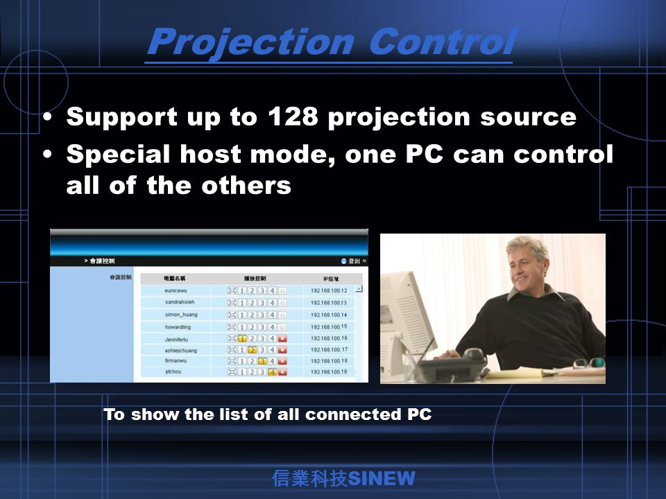Projection Control Support up to 128 projection source Special host mode, one PC can control all of the others To show the list of all connected PC 信業