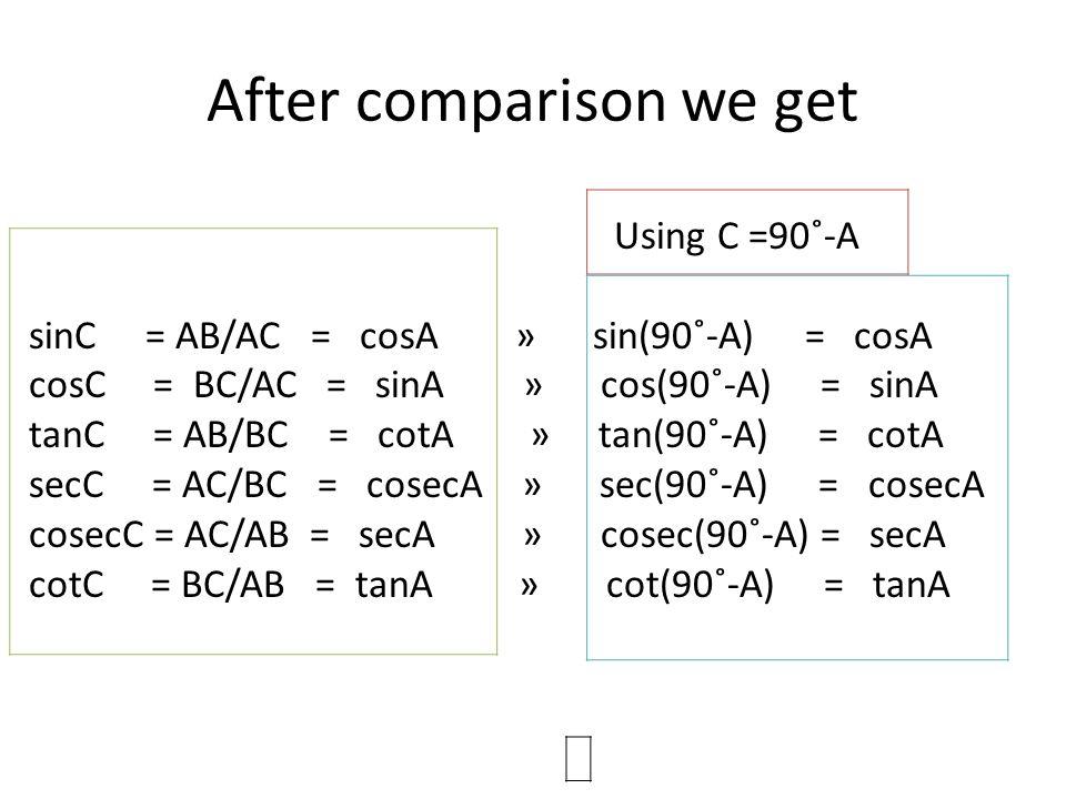 After comparison we get Using C =90˚-A sinC = AB/AC = cosA » sin(90˚-A) = cosA cosC = BC/AC = sinA » cos(90˚-A) = sinA tanC = AB/BC = cotA » tan(90˚-A
