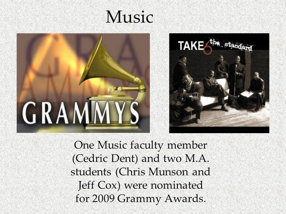 Music One Music faculty member (Cedric Dent) and two M.A.