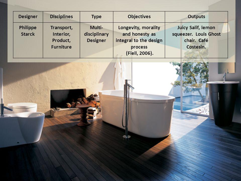 DesignerDisciplinesTypeObjectivesOutputs Philippe Starck Transport, Interior, Product, Furniture Multi- disciplinary Designer Longevity, morality and honesty as integral to the design process (Fiell, 2006).