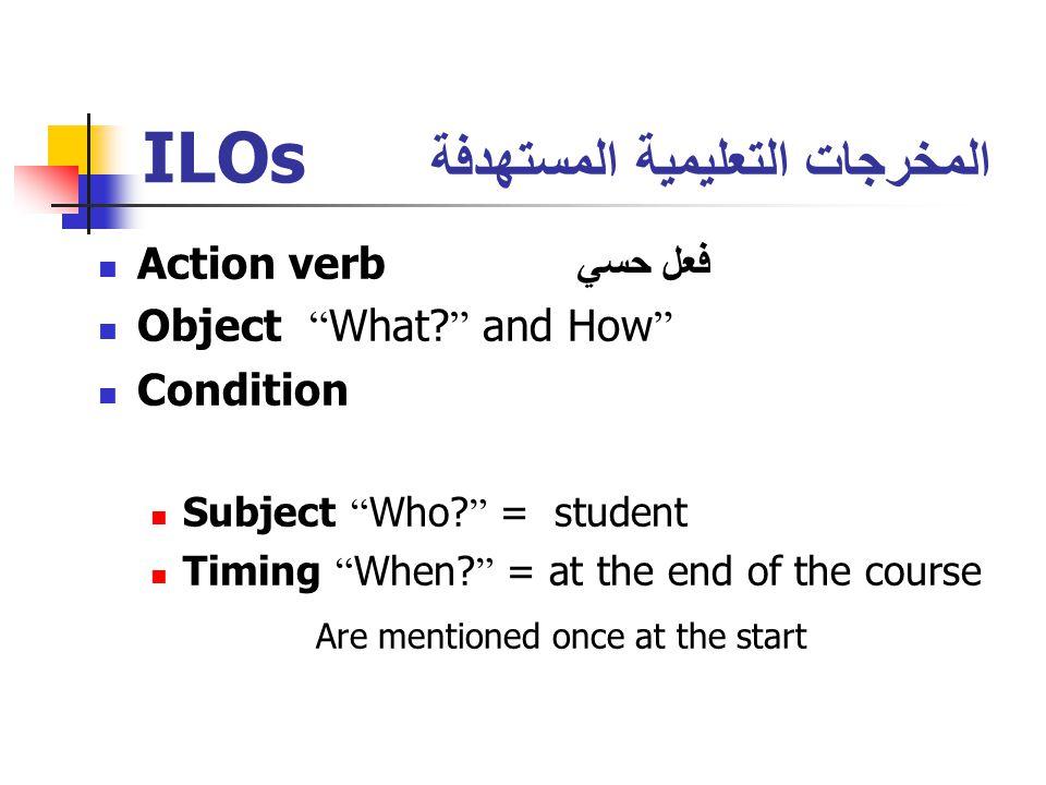 ILOs المخرجات التعليمية المستهدفة Action verb فعل حسي Object What.