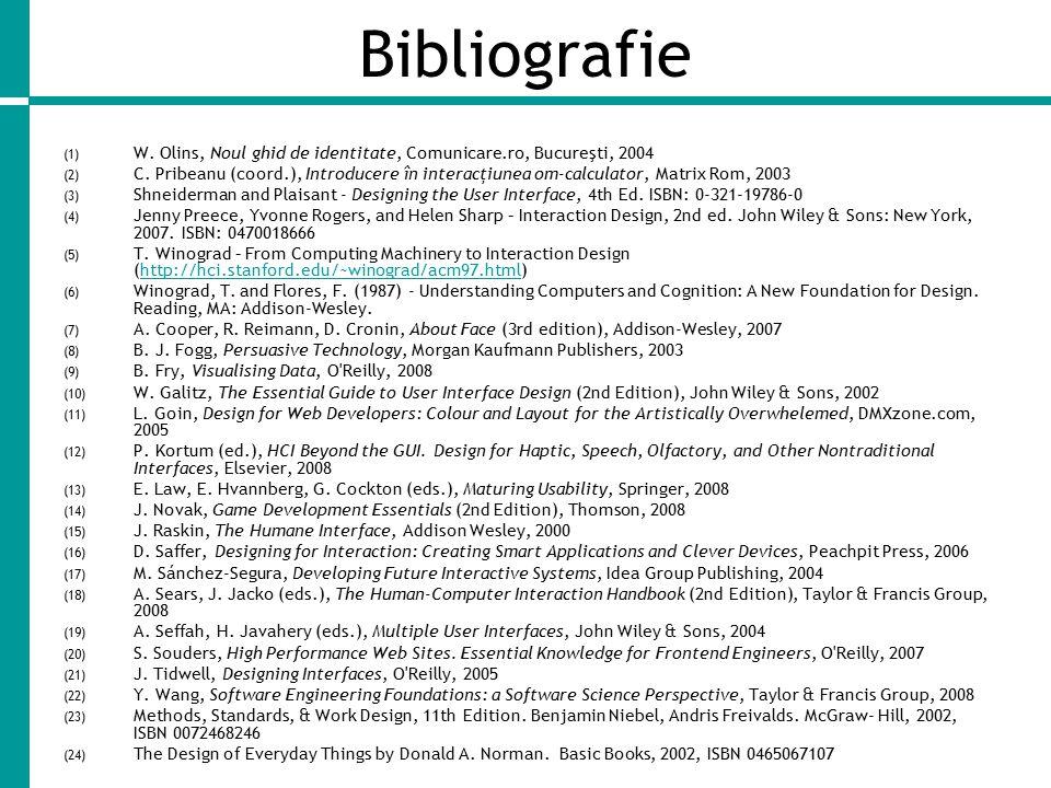 Bibliografie (1) W.Olins, Noul ghid de identitate, Comunicare.ro, Bucureşti, 2004 (2) C.