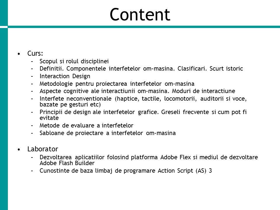 Content Curs: –Scopul si rolul disciplinei –Definitii.