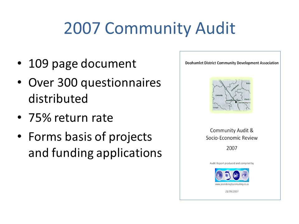 2007 Community Audit 109 page document Over 300 questionnaires distributed 75% return rate Forms basis of projects and funding applications