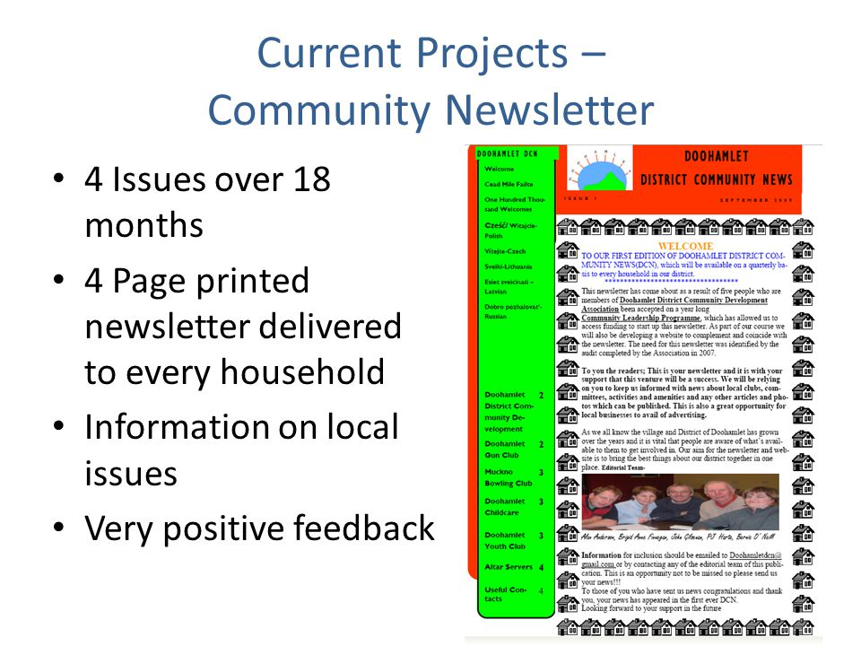 Current Projects – Community Newsletter 4 Issues over 18 months 4 Page printed newsletter delivered to every household Information on local issues Very positive feedback