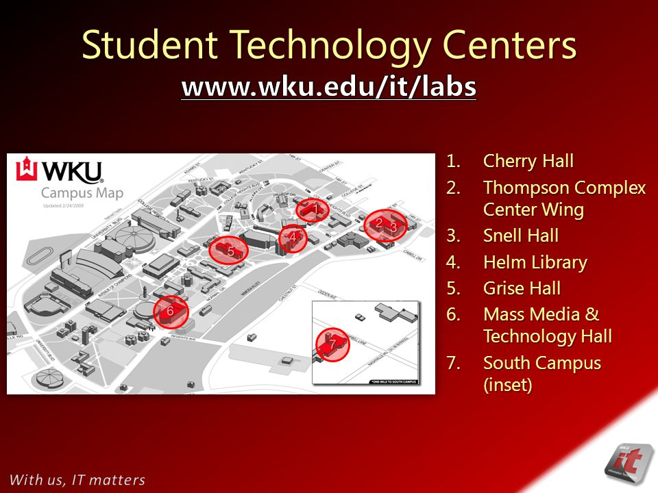 1. Cherry Hall 2. Thompson Complex Center Wing 3.