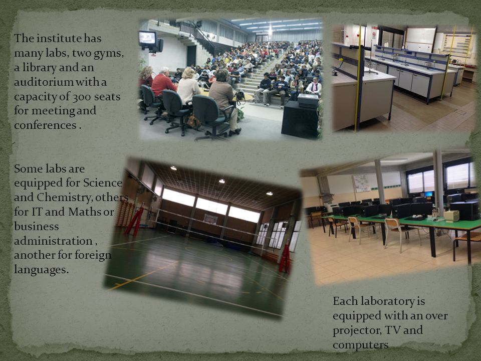 The institute has many labs, two gyms, a library and an auditorium with a capacity of 300 seats for meeting and conferences.