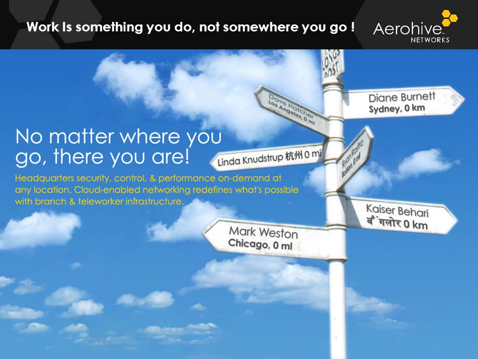 © 2011 Aerohive Networks CONFIDENTIAL Work Is something you do, not somewhere you go ! 20