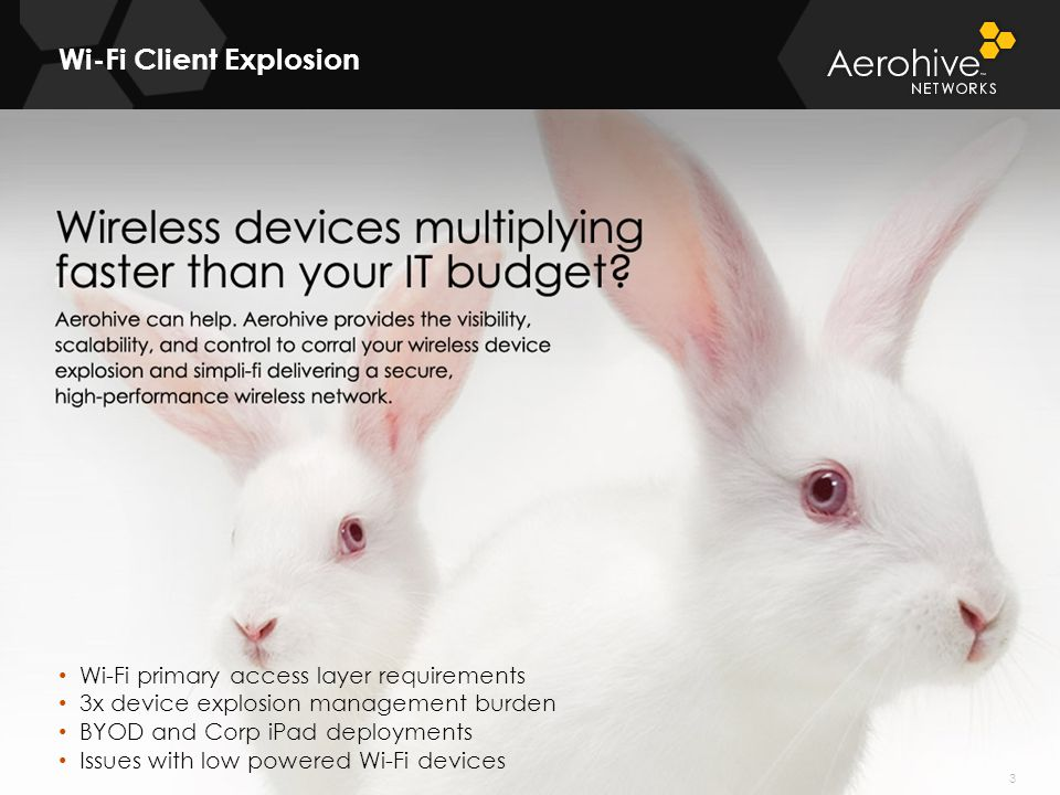© 2011 Aerohive Networks CONFIDENTIAL Wi-Fi Client Explosion 3 Wi-Fi primary access layer requirements 3x device explosion management burden BYOD and