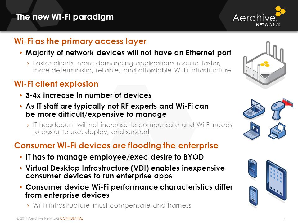 © 2011 Aerohive Networks CONFIDENTIAL The new Wi-Fi paradigm Wi-Fi as the primary access layer Majority of network devices will not have an Ethernet p