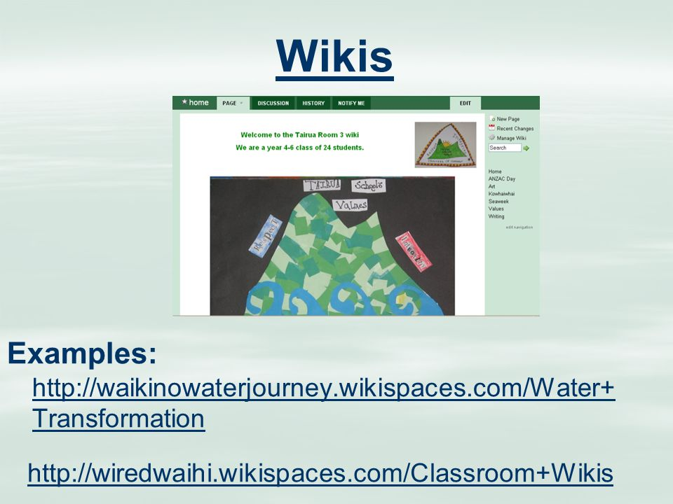 Wikis Examples: http://waikinowaterjourney.wikispaces.com/Water+ Transformation http://waikinowaterjourney.wikispaces.com/Water+ Transformation http://wiredwaihi.wikispaces.com/Classroom+Wikis