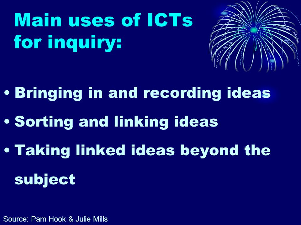 Main uses of ICTs for inquiry: Bringing in and recording ideas Sorting and linking ideas Taking linked ideas beyond the subject Source: Pam Hook & Julie Mills