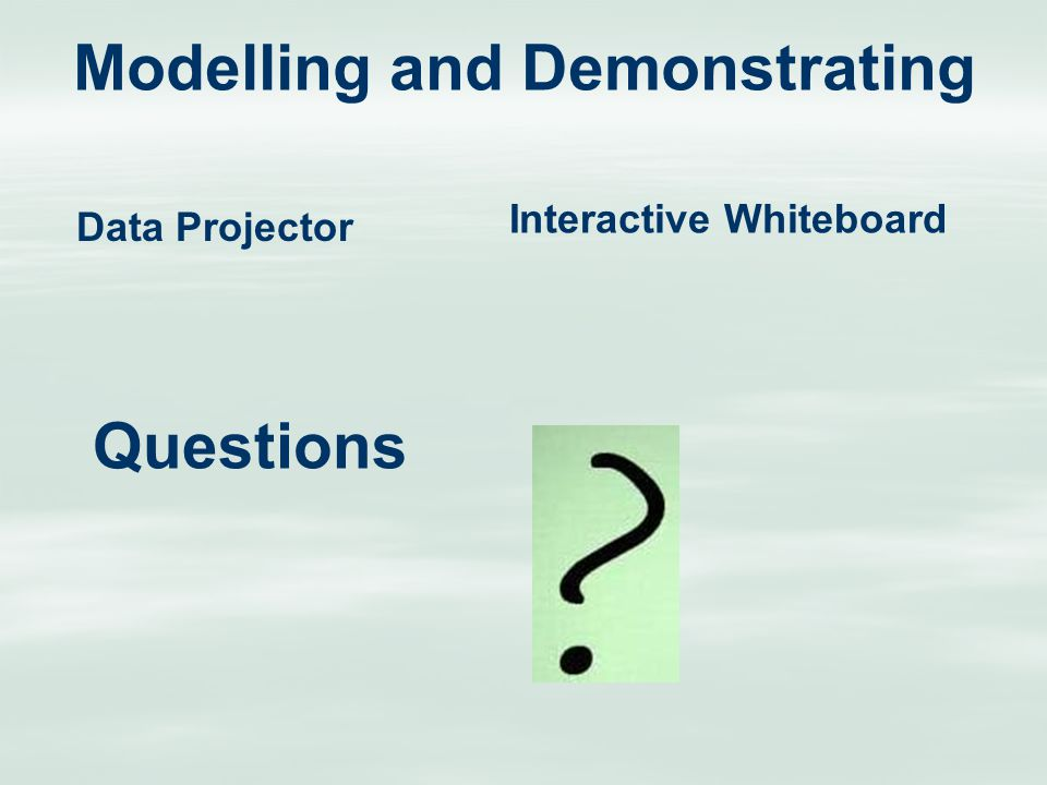Modelling and Demonstrating Data Projector Interactive Whiteboard Questions