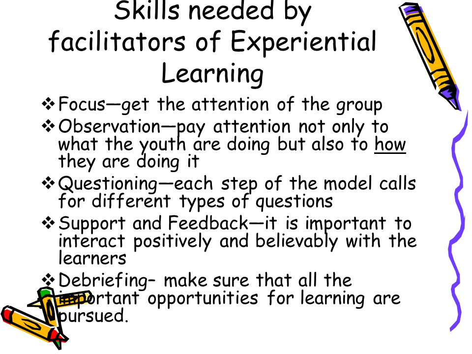 Skills needed by facilitators of Experiential Learning  Focus—get the attention of the group  Observation—pay attention not only to what the youth are doing but also to how they are doing it  Questioning—each step of the model calls for different types of questions  Support and Feedback—it is important to interact positively and believably with the learners  Debriefing– make sure that all the important opportunities for learning are pursued.