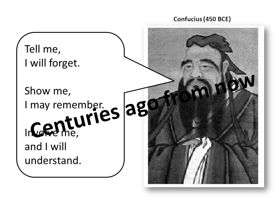 Confucius (450 BCE) Tell me, I will forget. Show me, I may remember. Involve me, and I will understand. Centuries ago from now
