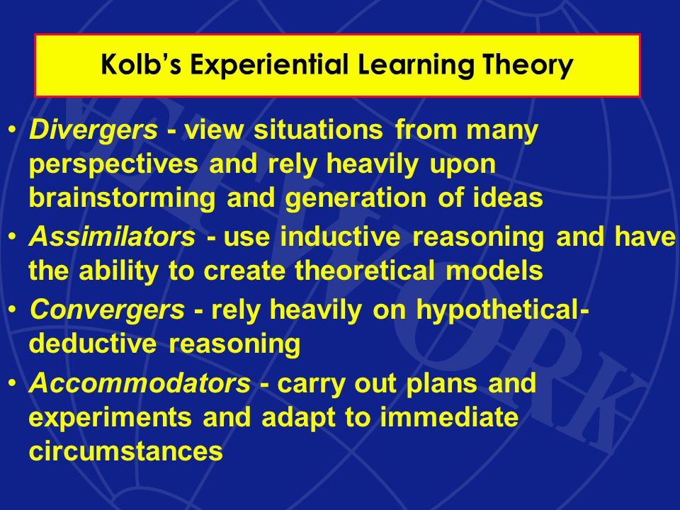 Kolb's Experiential Learning Theory Divergers - view situations from many perspectives and rely heavily upon brainstorming and generation of ideas Assimilators - use inductive reasoning and have the ability to create theoretical models Convergers - rely heavily on hypothetical- deductive reasoning Accommodators - carry out plans and experiments and adapt to immediate circumstances