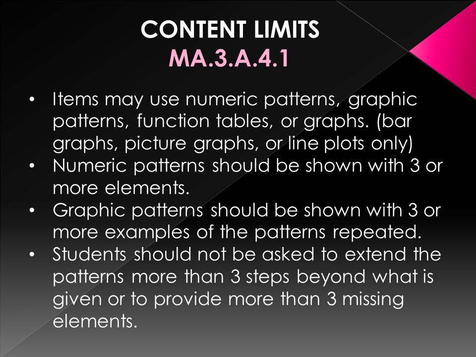 CONTENT LIMITSMA.3.A.4.1 Items may use numeric patterns, graphic patterns, function tables, or graphs.