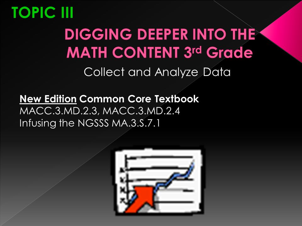 TOPIC III Collect and Analyze Data New Edition Common Core Textbook MACC.3.MD.2.3, MACC.3.MD.2.4 Infusing the NGSSS MA.3.S.7.1