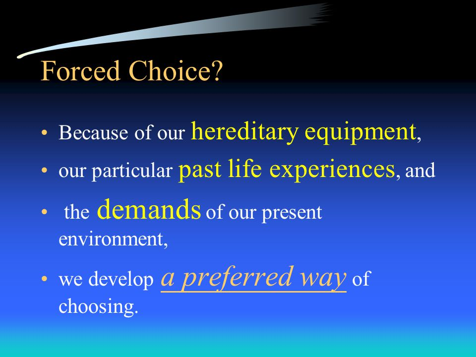 Choice Each dimension presents us with a choice.