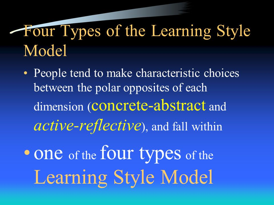 Five identifiable sets of forces that shape our learning styles personality type educational specialization professional career choice current job role current task/problem