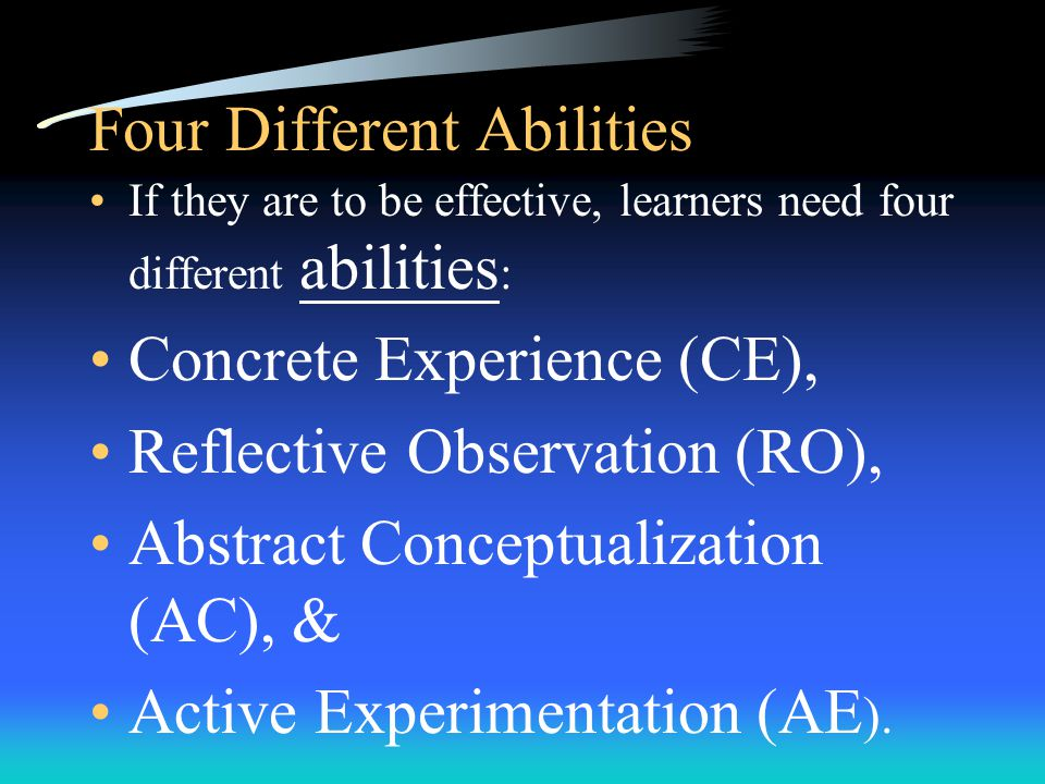 A Four-Stage Cycle 1. Immediate or concrete experience, which is the basis for: 2. Observations and reflections 3. These observations and reflections