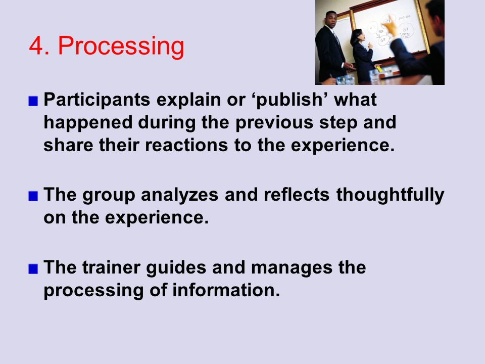 4. Processing Participants explain or 'publish' what happened during the previous step and share their reactions to the experience. The group analyzes