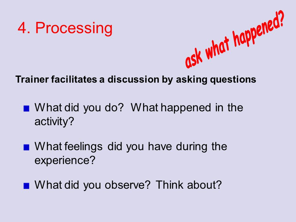 4. Processing What did you do? What happened in the activity? What feelings did you have during the experience? What did you observe? Think about? Tra