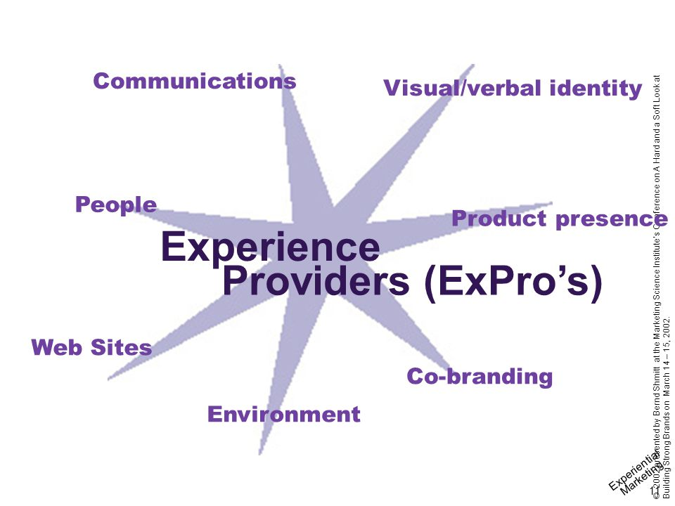Experiential Marketing 11 © 2002 presented by Bernd Shmitt at the Marketing Science Institute's Conference on A Hard and a Soft Look at Building Stron