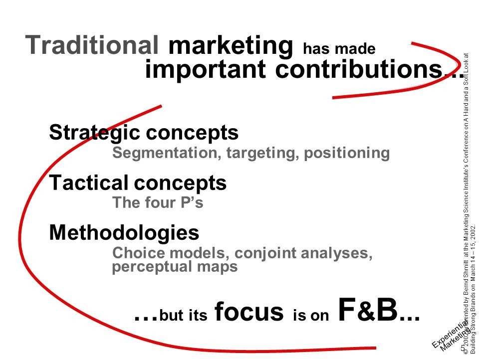 Experiential Marketing 5 © 2002 presented by Bernd Shmitt at the Marketing Science Institute's Conference on A Hard and a Soft Look at Building Strong Brands on March 14 – 15, 2002.