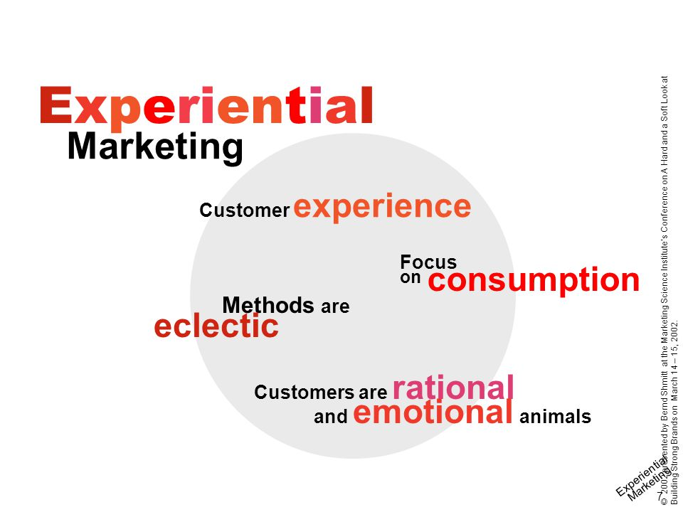 Experiential Marketing 18 © 2002 presented by Bernd Shmitt at the Marketing Science Institute's Conference on A Hard and a Soft Look at Building Strong Brands on March 14 – 15, 2002.