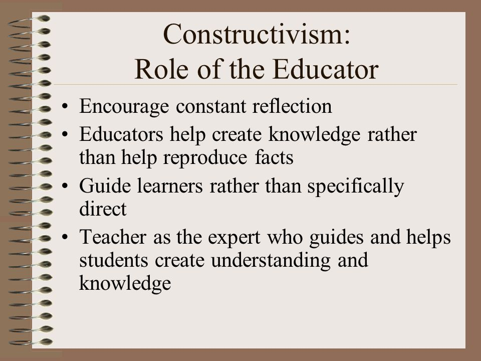 Constructivism: Role of the Educator Encourage constant reflection Educators help create knowledge rather than help reproduce facts Guide learners rather than specifically direct Teacher as the expert who guides and helps students create understanding and knowledge