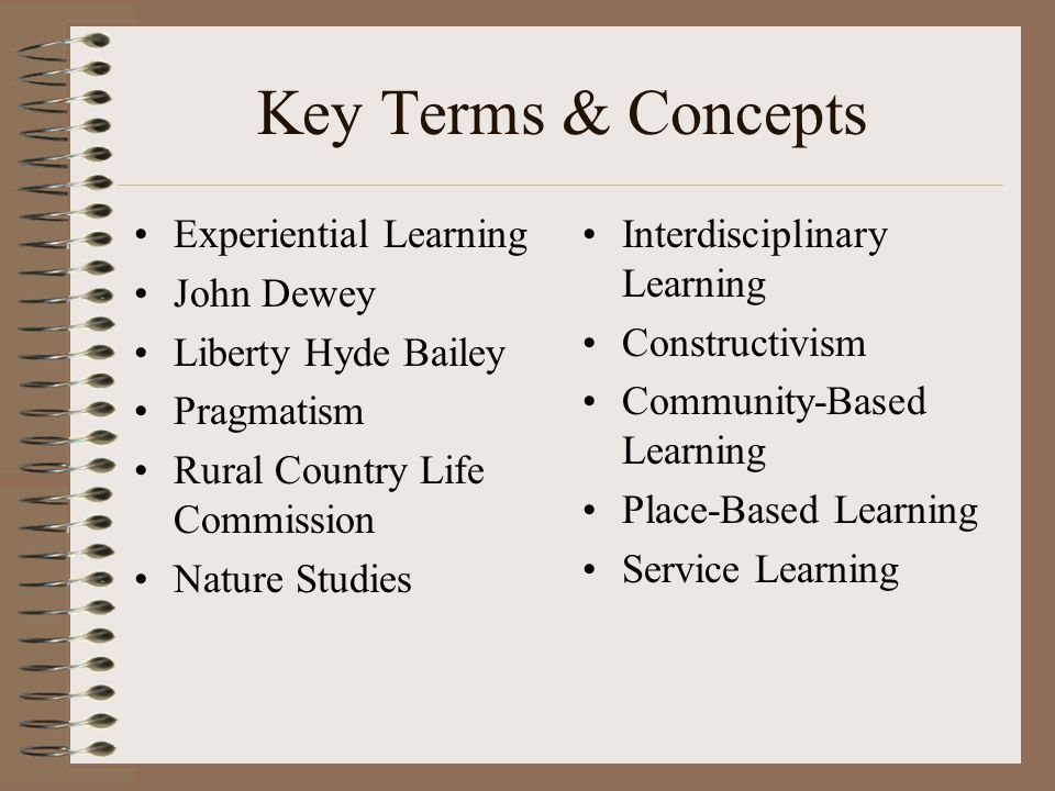 Key Terms & Concepts Experiential Learning John Dewey Liberty Hyde Bailey Pragmatism Rural Country Life Commission Nature Studies Interdisciplinary Learning Constructivism Community-Based Learning Place-Based Learning Service Learning